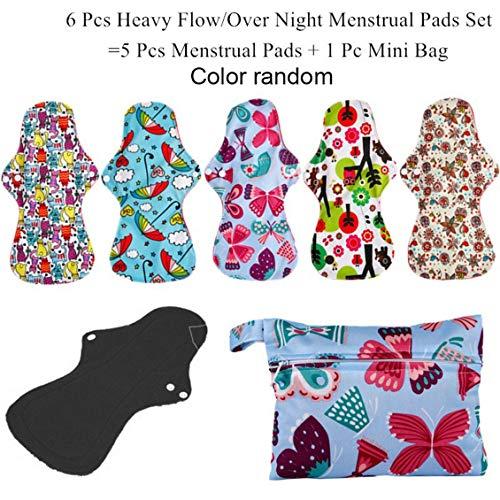 ForceSthrength Waschbar Wiederverwendbare Hygiene Pad 5 Stück Menstruation Pads + 1 Stück Beutel - Natürliche Sanitary Pads