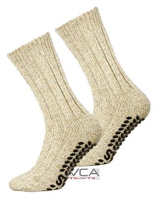2 oder 4 Paar Norweger Strick-Socken mit Antirutsch Sohle, Woll Socken mit ABS Sohle. Hütten Socken
