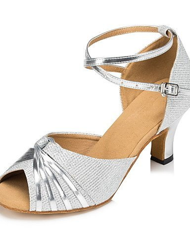 ShangYi Chaussures de danse ( Autre ) - Non Personnalisables - Talon Cubain - Satin / Paillette Brillante -Latine / Jazz / Moderne / Chaussures Black