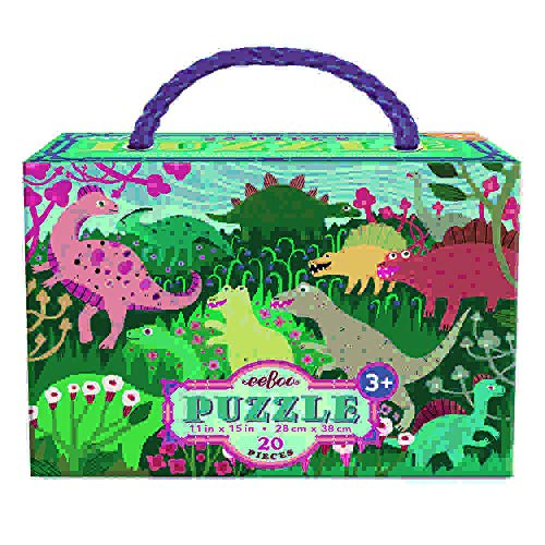 eeBoo- Puzzle 20 pza gandes Dinosaurios, Multicolor (PZDNM)