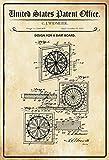 US Patente - Design for a Dart Board - Entwurf für ein Dart Spiel - Widmeier, 1936 - Design No 2.060.405 - schild aus blech, metal sign, tin