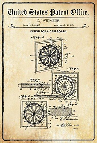 United States Patent Office - Design for a Dart Board - Entwurf für ein Dart Spiel - Widmeier, 1936 - Design No 2.060.405 - Blechschild