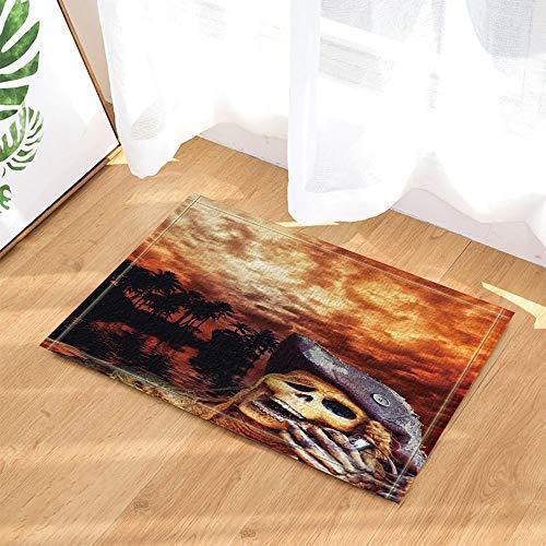 ZZ7379SL Halloween Decor Seaside Skull mit Hut gegen Palmblatt und brennende Wolken Badteppiche 3D Digitaldruck 40x60CM Schlafzimmer Küche Kinder Badezimmer Matten Zubehör