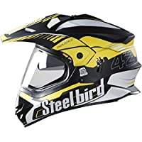 STEELBIRD SB-42 AIRBORNE MOTOCROSS HELMET GLOSSY FINISH WITH PLAIN VISOR (LARGE 600 MM, GLOSSY BLACK WITH YELLOW)