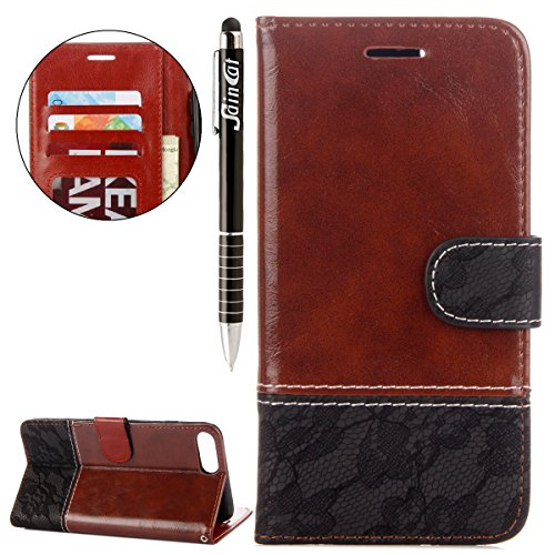 iPhone 7 Plus Custodia, iPhone 7 Plus Cover Wallet, SainCat Custodia in Pelle Cover per iPhone 7 Plus, Anti-Scratch Protettiva Caso Elegante Creativa Dipinto Pattern Design PU Leather Flip Portafoglio Brown + Nero