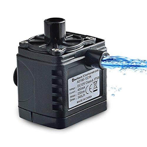 Neuftech Mini Leistungsstarke 340L / H DC 12 V 4.8 Watt Tauchpumpe, IPX8 Waterproof Wasser Funktion Pumpe für Brunnen,Aquarium,Teich,Hydrokultur Garten mit einem Langen Kabel 160 cm.(Schwarz)