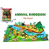 Vibgyor Vibes Wild Animal Play Set Figures Set for Kids/Young Ones Pack of Animals with Jungle Camouflage Play Mat (Animal Kingdom - 111 Pieces with Play MAT)