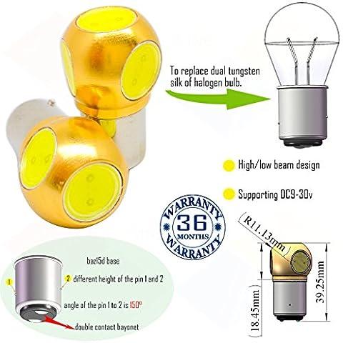 Wiseshine ampoule auto led baz15d p21 4w 7225 bulbe S25 4 led HP DC9-30v 3 ans d'assurance qualité (pack de 2) élevé/faible luminosité baz15d 4 led HP jaune
