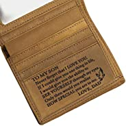 Personalized Engraved Message Leather Wallet for Him - Graduation Father day Valentines Anniversary Birthday C