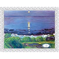 LuxHomeDecor marco impresión sobre lienzo con marco de madera Edvard Munch Seascape