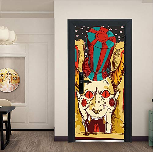Clown 3D Mode Kunst Label Wanddekoration Aufkleber Tür Fenster Poster Removable Wandbild Dekoration Szene ()