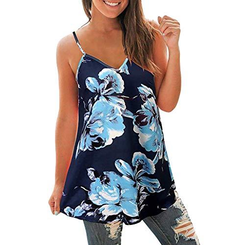 (CAOQAO Damen V Hals Bedruckt T-Shirt Ärmellos Lässig Oberteile Bluse Weste Tank(XXL,Blau))