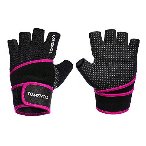 TOMSHOO Unisex Gewichtheben Sports Trainings Fitness Handschuhe mit Handgelenk Verpackungs Anti Rutsch Atmungsaktiv
