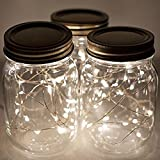 UxradG Solar Mason Jar Lichter, bunt Lichterkette LED Strip Mason Jar Solar Licht für Outdoor Garten Party Hochzeit Dekoration, warmweiß