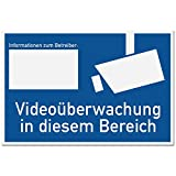 Videoüberwachung Schild gemäß DIN 33450 (blau, 30 x 20cm), Warnhinweis, Hinweisschild videoüberwacht - Infozeichen mit Informationen zum Betreiber, Hinweis auf Videoüberwachung - Datenschutz BDSG