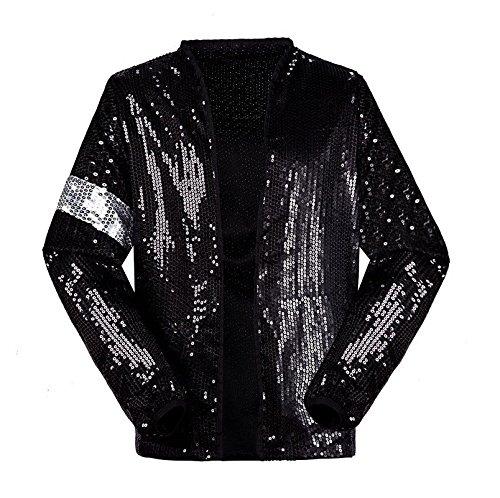 Michael Jackson Kostüm Jacke Hosen für Erwachsene Kind Billie Jean Jacke Tanz Cosplay Schwarz (H:175-190cm W:78-95kg, Erwachsene Jacke)