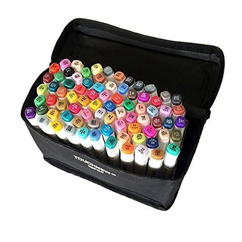 Original TouchNew 80 Farben Animation Design Marker Stifte, breite schöne Punkte mit Aufbewahrungsbeutel, T Tocas, Weiß