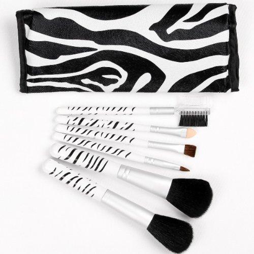 Lot de 6 pinceaux de maquillage en cheveux poignée Zebra de maquillage professionnel pinceaux de maquillage