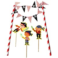 TRIXES Novedosa Decoración Terminación Pastel de Cumpleaños Bandera Pirata