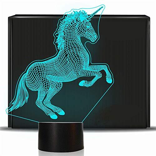 YSYDE Unicornio 3D Luz Noche Lámpara mesita Noche