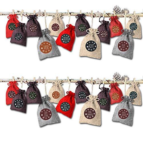 Aokebeey Adventskalender zum Befüllen 2019 Weihnachtskalender, 24 Stoff Tüten, DIY Säckchen mit 24 Aufkleber zum Selbstbefüllen (4 Farben)