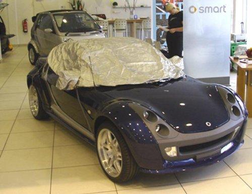 Preisvergleich Produktbild Halbe Autoabdeckung Mini car cover Teilgarage smart Roadster in silber exclusiv aus Tyvek mit Lagerbeutel
