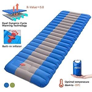 Overmont Camping Isomatte Luftmatratze Aufblasbar 12cm Dick Selbstaufblasbare Isomatte mit eingebauter Luftpumpe und…