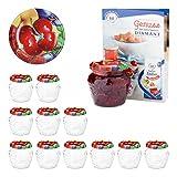 Van Well 12er Set Einkochgläser 215 ml Sturzglas Kirschen Deckel Incl. Rezeptheft | Früchte-Struktur im Glas | Marmeladengläser Einmachgläser