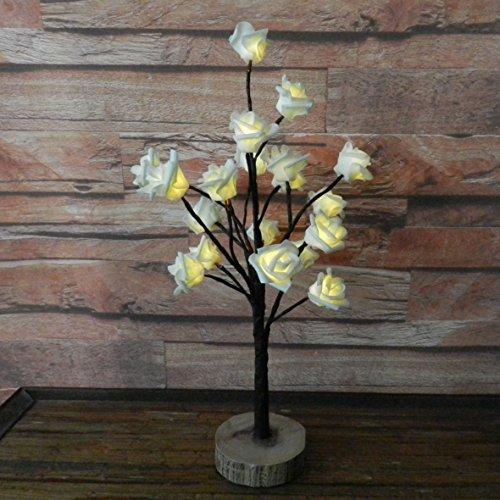 Batteriebetrieben W/Timer gelb rose Weihnachtsbaum Tabletop LED-Licht beleuchtet, 20 warmweiße LEDs, rustikale Vintage Holz Boden, für Home/Party/Hochzeit/Festival/Dekoration im