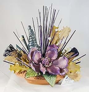 38° Parallelo Creations - Composizione floreale profumata realizzata su ciotola ovale di terracotta decorata - Idea regalo Made in Italy - CLS0200007 VIOLA