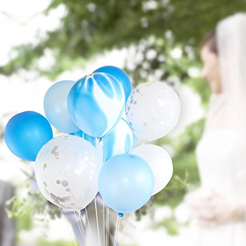 12 Zoll Goldfolie Ballon Set Helium Konfetti Party Ballons,Geburtstag Hochzeit Liebe Dekor,Hohe Qualität (Blau, Ballon Set) ()