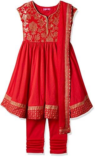 Biba Girls' Salwar Suit Set (KW2479_RED_15)