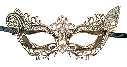 Metall Augenmaske Jagdgöttin Artemis - Antik Bronze mit Strasselementen - Bezaubernde Maskerade für Maskenball und Fasching (Artemis Kostüme)