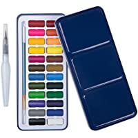 MEEDEN 24 Assorted Colours Watercolour Paints with Tin Case, Painting Pans Set, Include Waterbrush Pen and Watercolour Brush for School Students Kids Artist