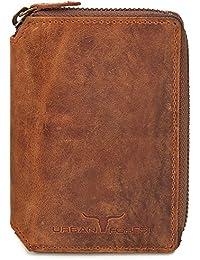 Leder Geldbörse Portemonnaie Lederbörse Brieftasche Geldbeutel Hochformat mit Reißverschluss aus echtem Leder in Farben Schwarz Braun Cognac von URBAN FOREST