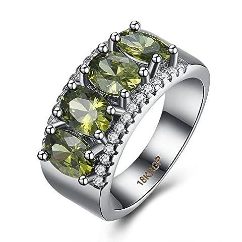 Thumby Copper Platinum Plated 6.8g Romantic Four Large Green Zircon Rings for Women,grüne,8 (Grün Harz Kreuz)