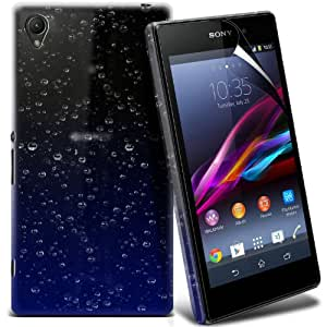 Sony Xperia Z1 Compact 3D Design Raindrop Hard Case Skin Cover + LCD Screen Protector Guard (blau) von Spyrox