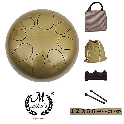 Muslady 10 pouces Tambour à languette en acier Instrument à percussion Tambour à la main avec...