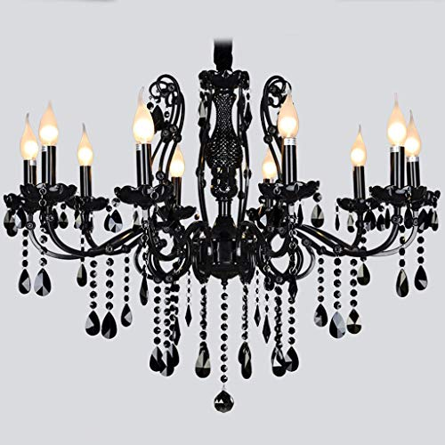 Kronleuchter American Black Crystal Kronleuchter Europäischen Wohnzimmer Vintage Schmiedeeisen Esszimmer Schlafzimmer Kerze Kronleuchter A + (Farbe: Ohne Lampe Abdeckung-10 Kopf) -
