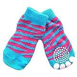 jj Store 4pcs piccolo cucciolo cane calzini antiscivolo calze di cotone a maglia Tiger Stripes Skid Bottom