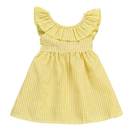 ider Sommer Kinder Kleid Kleinkind Scherzt Baby-äRmellose GekräUselte Plaid-BeiläUfige Kleid-Sommerkleid-Sommer (Gelb, 80) ()