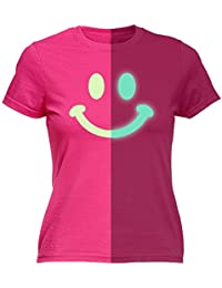 glow in the dark 123t Women's GLOW IN THE DARK SMILEY FACE - FITTED T-SHIRT