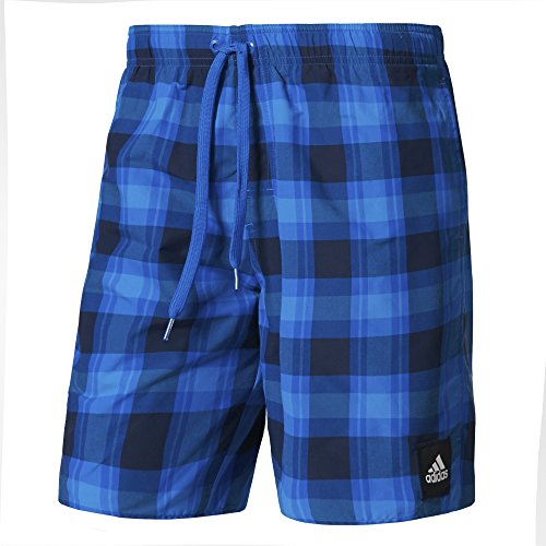 adidas Herren Checked Badeshorts, Collegiate Navy/Blue/Shock Blue, S