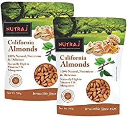 Nutraj California Almonds 1Kg (2 Packs of 500G each)