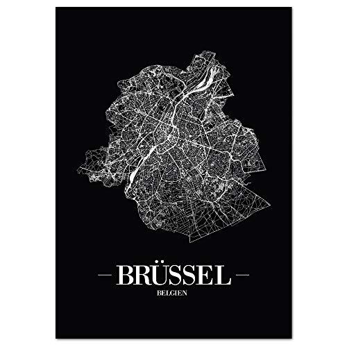 JUNIWORDS Stadtposter - Wähle Deine Stadt - Brüssel (Region) - 60 x 90 cm - Schrift A - Schwarz