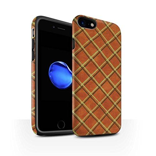 STUFF4 Matte Harten Stoßfest Hülle / Case für Apple iPhone 8 / Grün/Schwarz Muster / Kreuz Muster Kollektion Orange