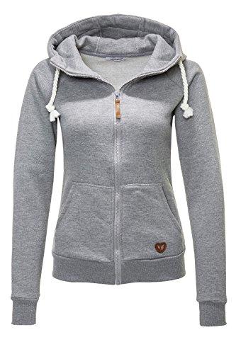 Hailys Damen Sweatjacke Hoodie Sweatshirt Kapuzenpullover (Light Grey Marl/Plain, XS)