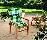 Schwar Textilien Gartenstuhl-Kissen - Cuscini per sedie da Giardino a Schienale Basso, Colore: Verde/Blu