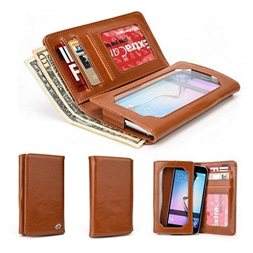 Kroo Portefeuille unisexe avec HTC Desire 626G +/One M8S ajustement universel différentes couleurs disponibles avec affichage écran Marron - marron Marron - marron