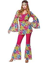 Hippie Feeling Groovy Ladies Fancy Dress Costume Large 46-48